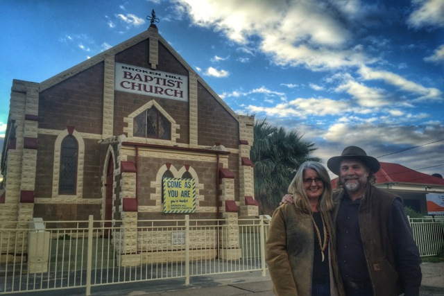 Pictured: Steve and Kerrie at the historic Baptist Church in Broken Hill, NSW