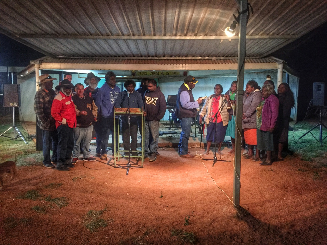 Pictured: The singalong at Lake Nash Church dedication went for 8 hours last Saturday.
