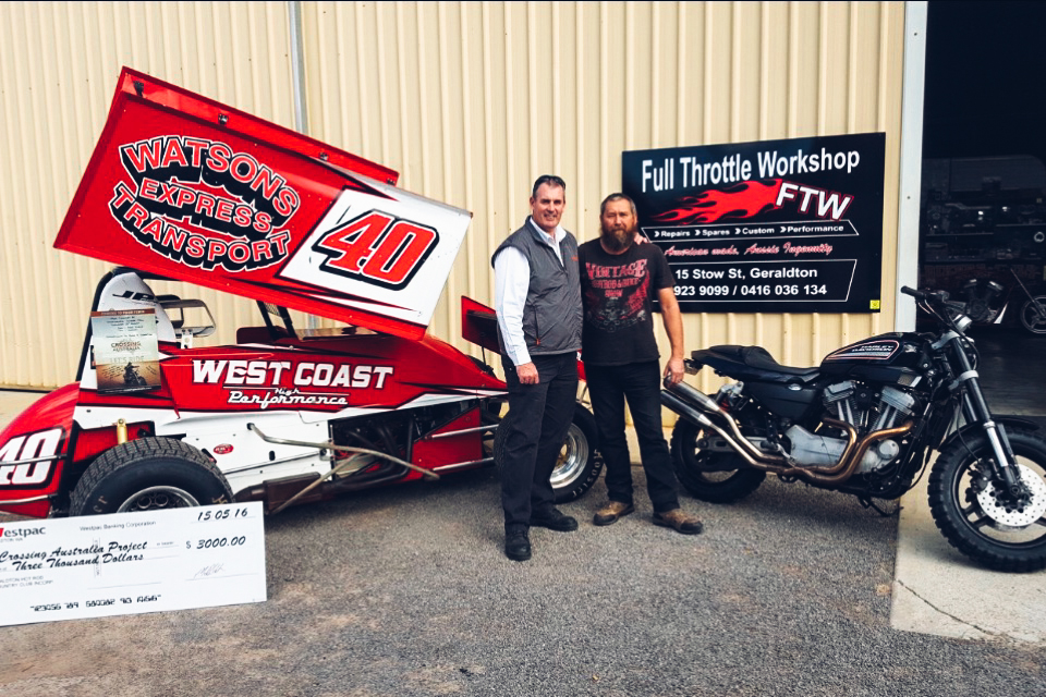 Pictured: Phil Sprigg with Col from Full Throttle Workshop in Geraldton and the donation from Geraldton City Speedway.