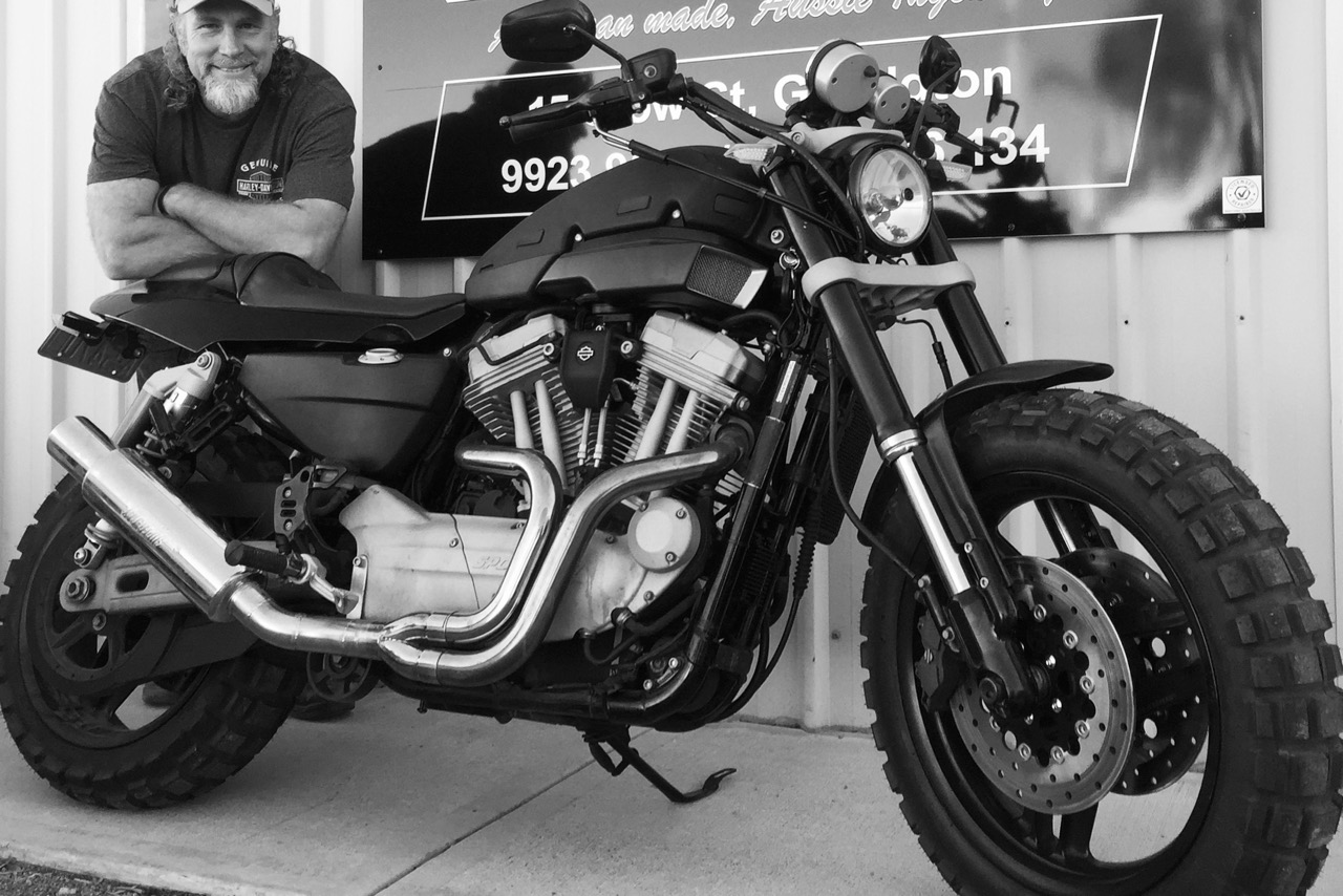 Pictured: Totally stoked in the XR1200 Harley build for Crossing Australia