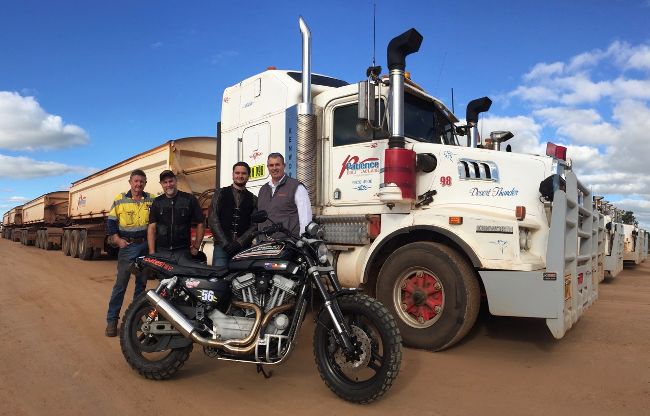 Pictured: John Patience with Steve, Ryan and Phil Sprigg at the Patience Bulk Haulage truck yards in Geraldton