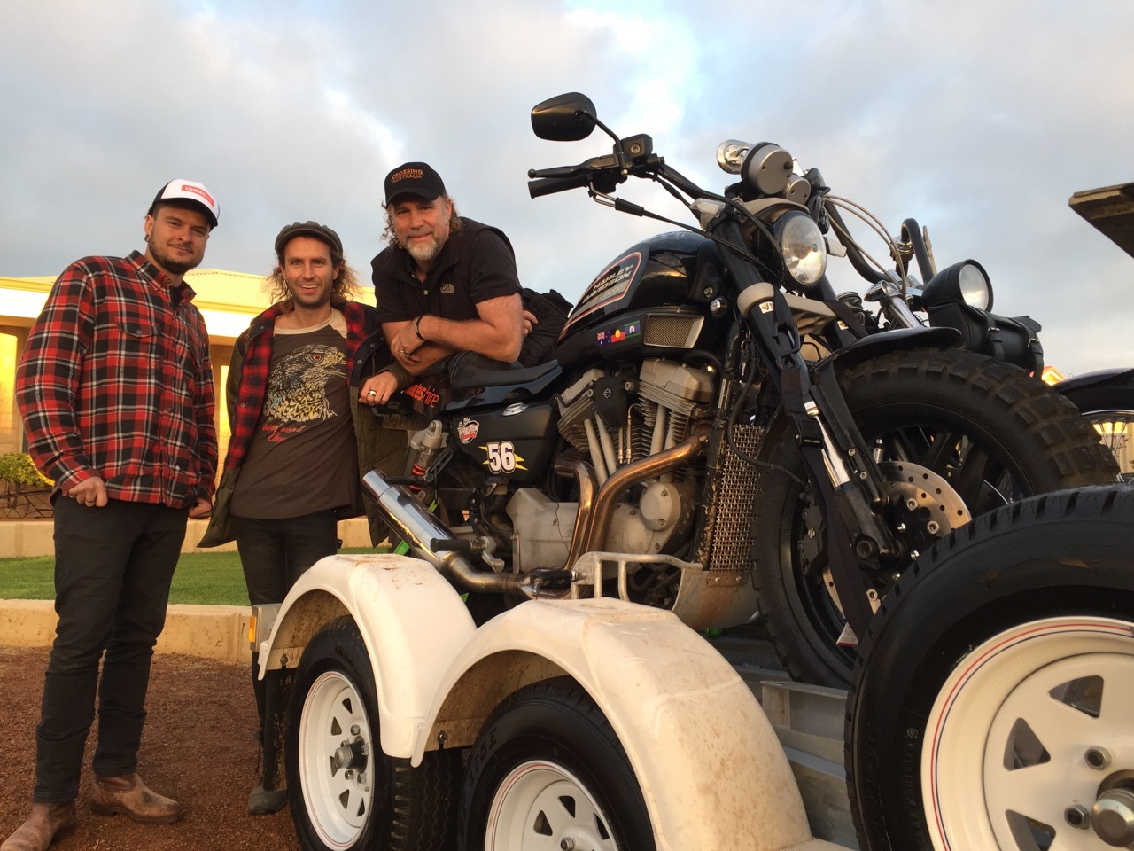 Pictured: Ryan, Cheyne and Steve Grace ready for an epic journey across the Australian deserts..
