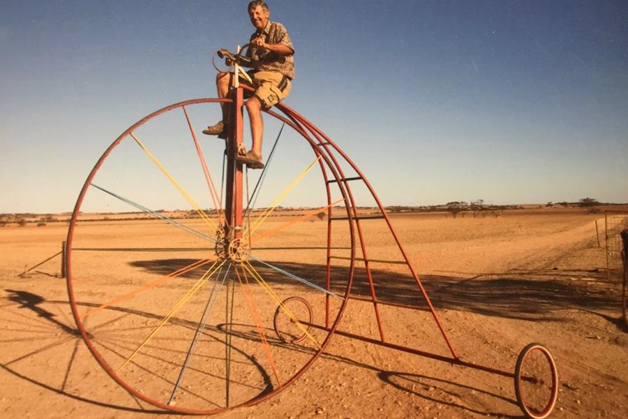 Pictured: Vic Hausler on his giant Pennyfarthing bike a few years back.