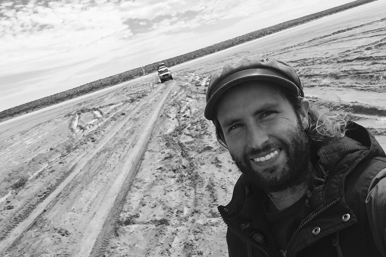 Pictured: Cheyne Grace with the Desert Song Troopy in the Simpson Desert