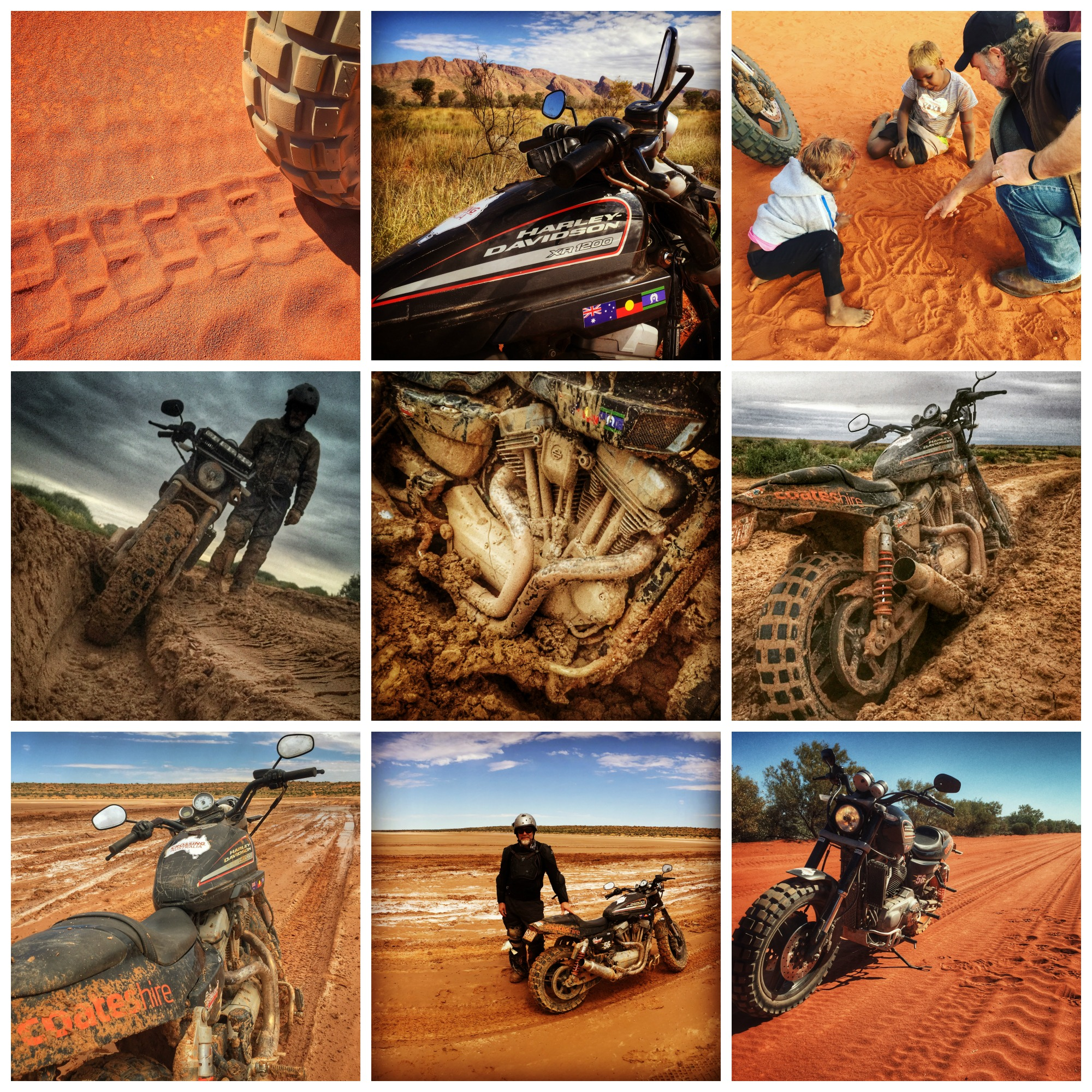 Pictured: A montage of some aspects of the Simpson Desert after rain and the rich colours of the Gibson Desert.