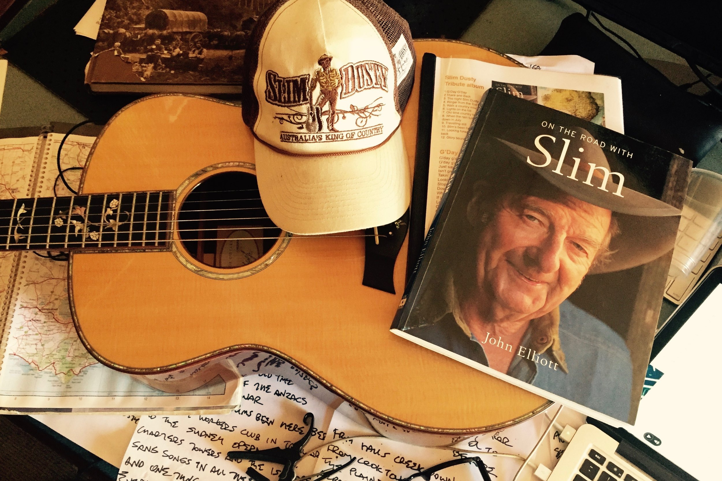 Pictured:  Songwriting sessions and final preparations for the Slim Dusty Tribute project