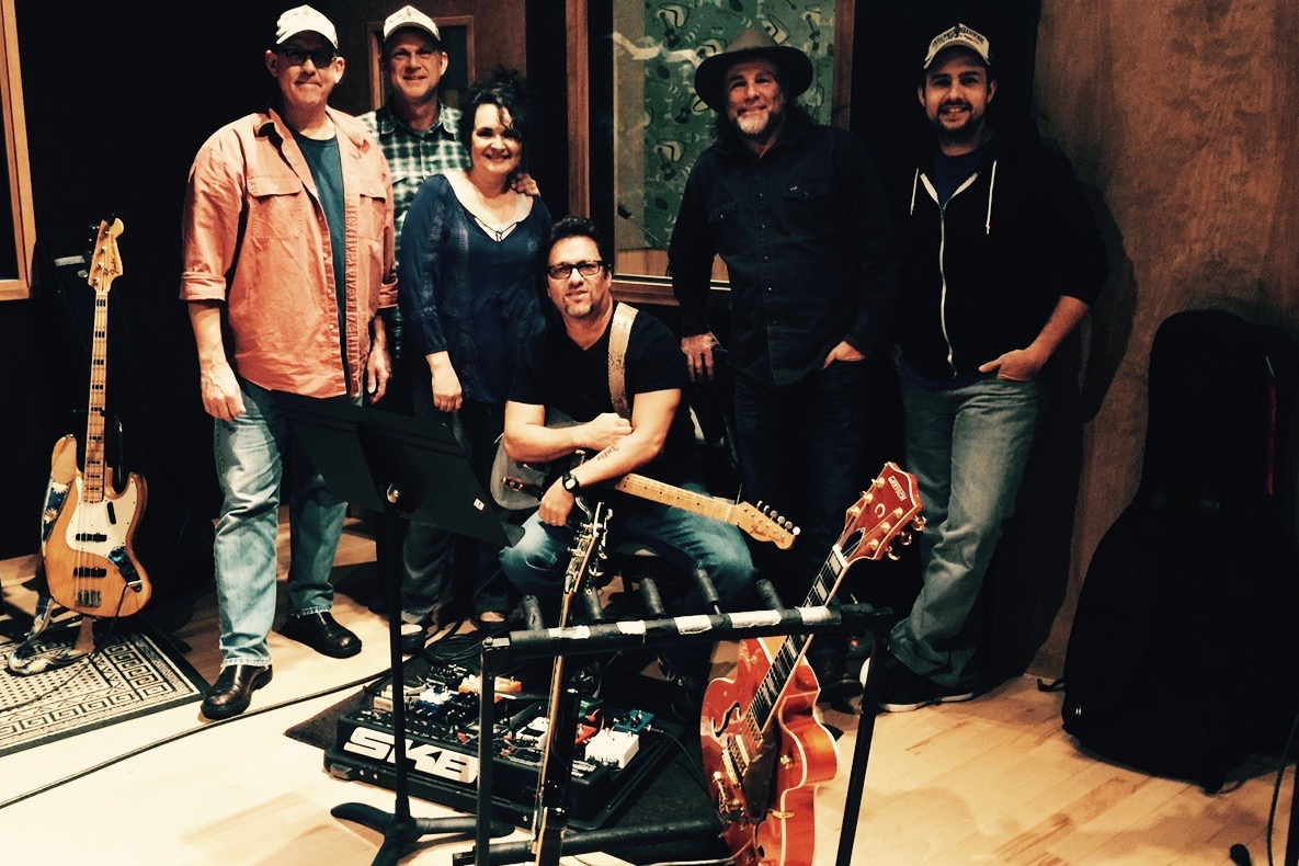Pictured:Legendary drummer John Hammond and guitarist Brent Mason with Mark, Wanda, Steve and Chris at the end of another tracking day.