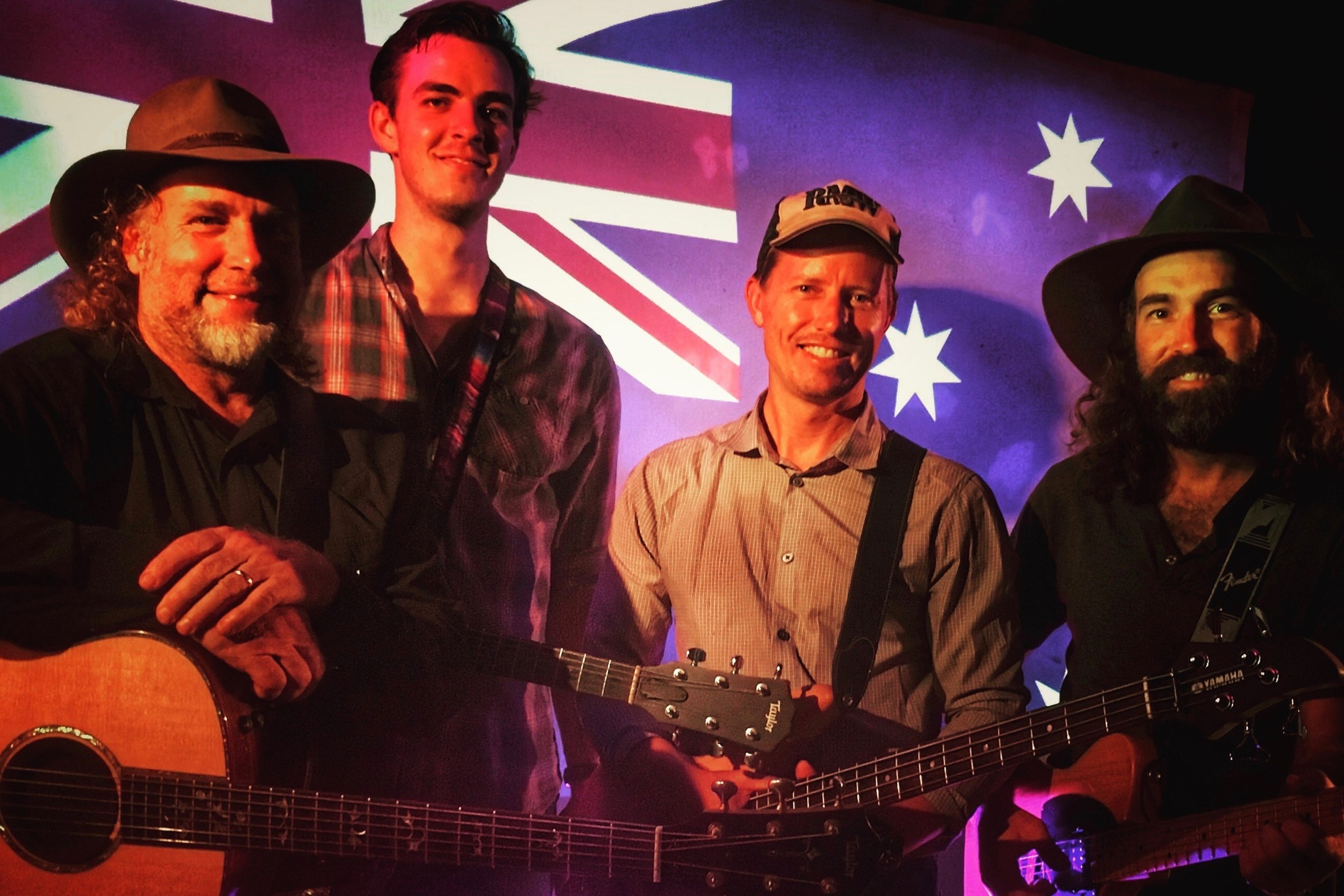 Pictured: Steve with Brendan Huxley, Mal King and Dave Graffin. The band for the Tamworth Country Music Festival 2017.