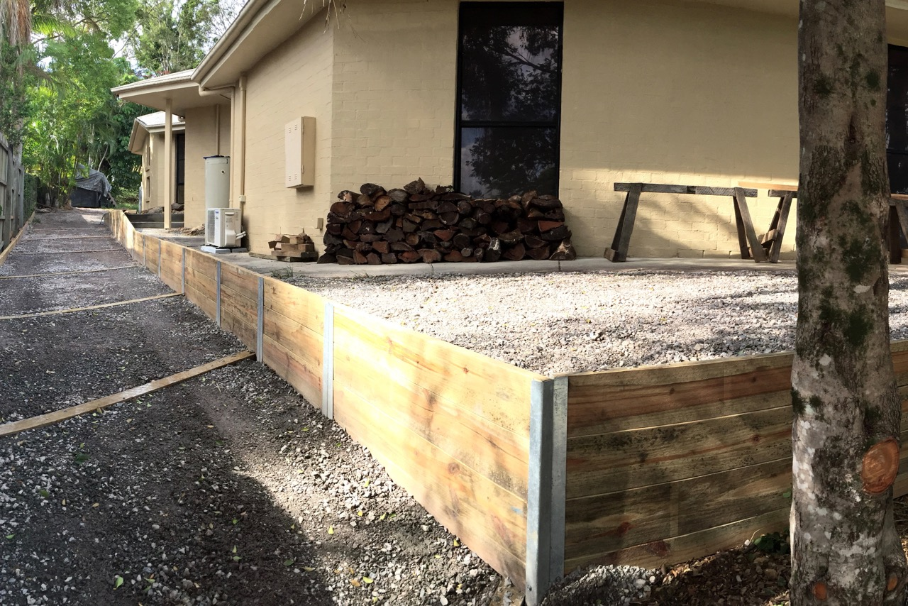 Pictured: The transformed gutter up the side of our home is now a driveway!