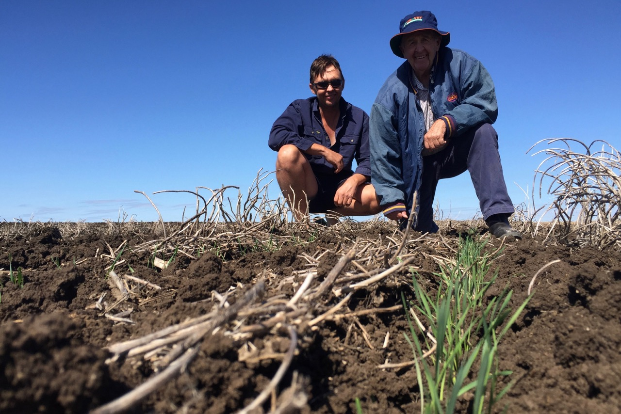 """Pictured: Dion and Ian """"Sambo"""" Sampson hard at work planting a wheat crop in the black soil of central Queensland."""