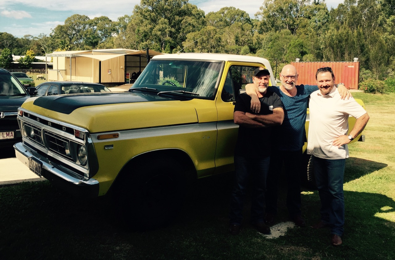 Pictured:Steve with Pastor Danny Gugglielmucci and Pastor Steve Kennedy and his pride 'n' joy Ford F100 'Big Bird' at church camp.
