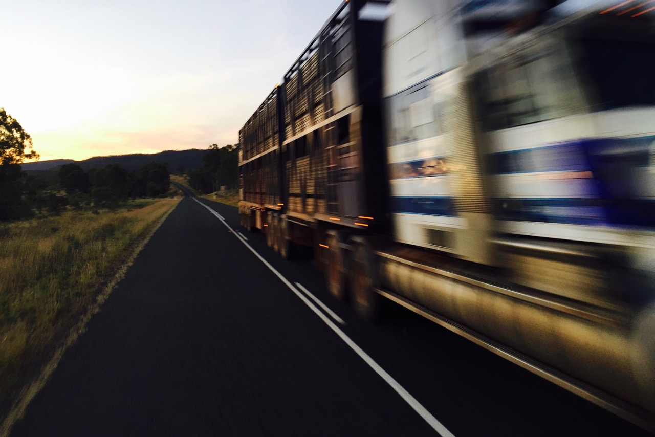 Pictured: The rush of a Kenworth Road Train on the Capricorn Highway at sundown a few weeks ago.