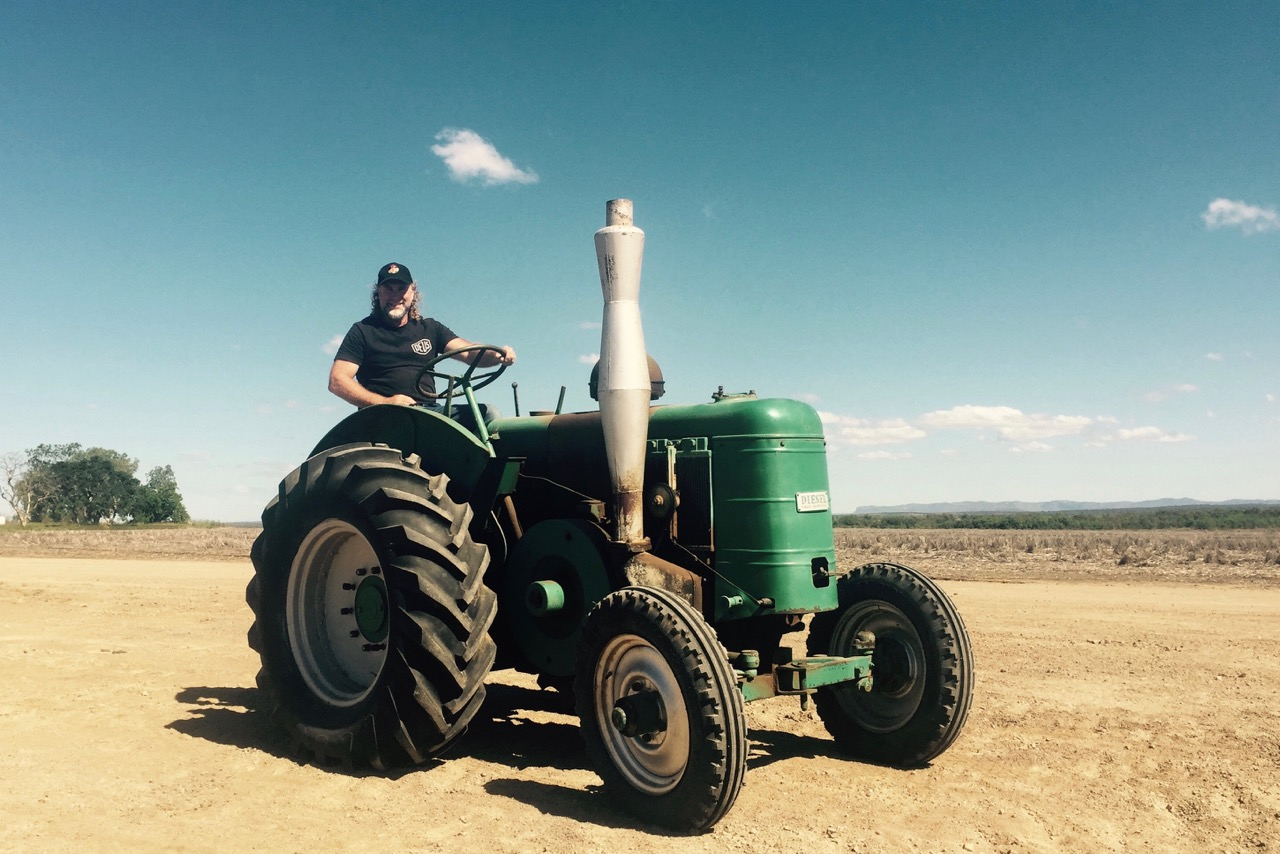 Pictured: Steve learning to operate 'Sambos' 1949 Field Marshall Tractor at Glenora Downs, QLD.