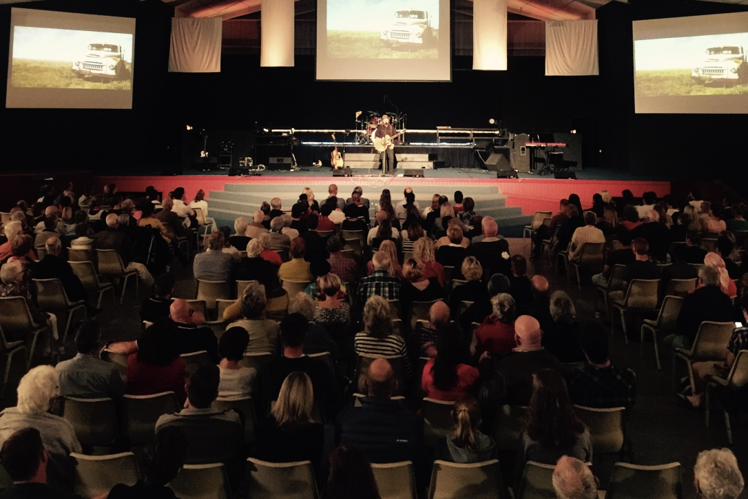 Pictured: Steve singing at the combined churches Pentecost Sunday event in Hervey Bay, QLD