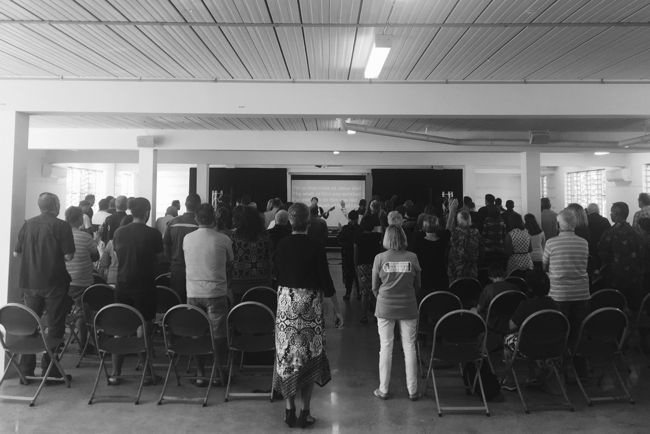 Pictured:Sunday morning combined Churches service in Airlie Beach, North Queensland