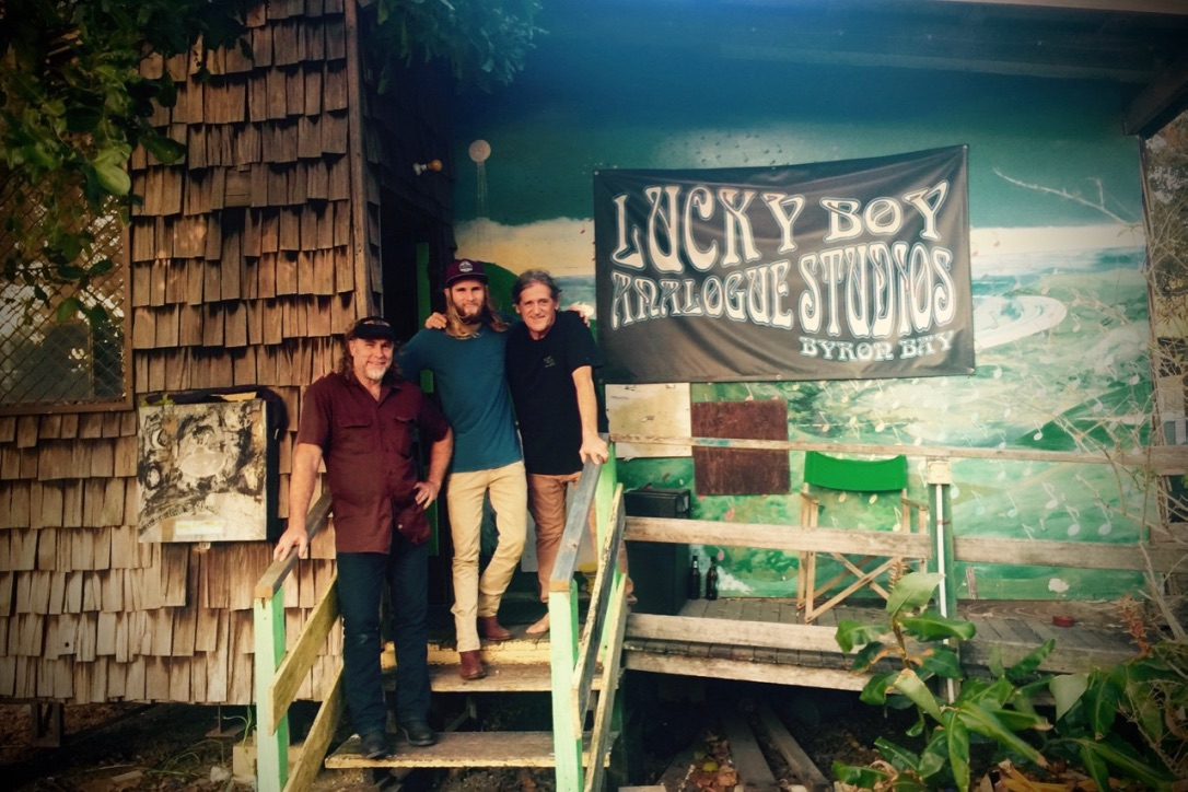 Pictured: Steve and Jordan with Geoff Wright of Lucky Boy Analogue Studios, Byron Bay. Photo: Kerrie Grace
