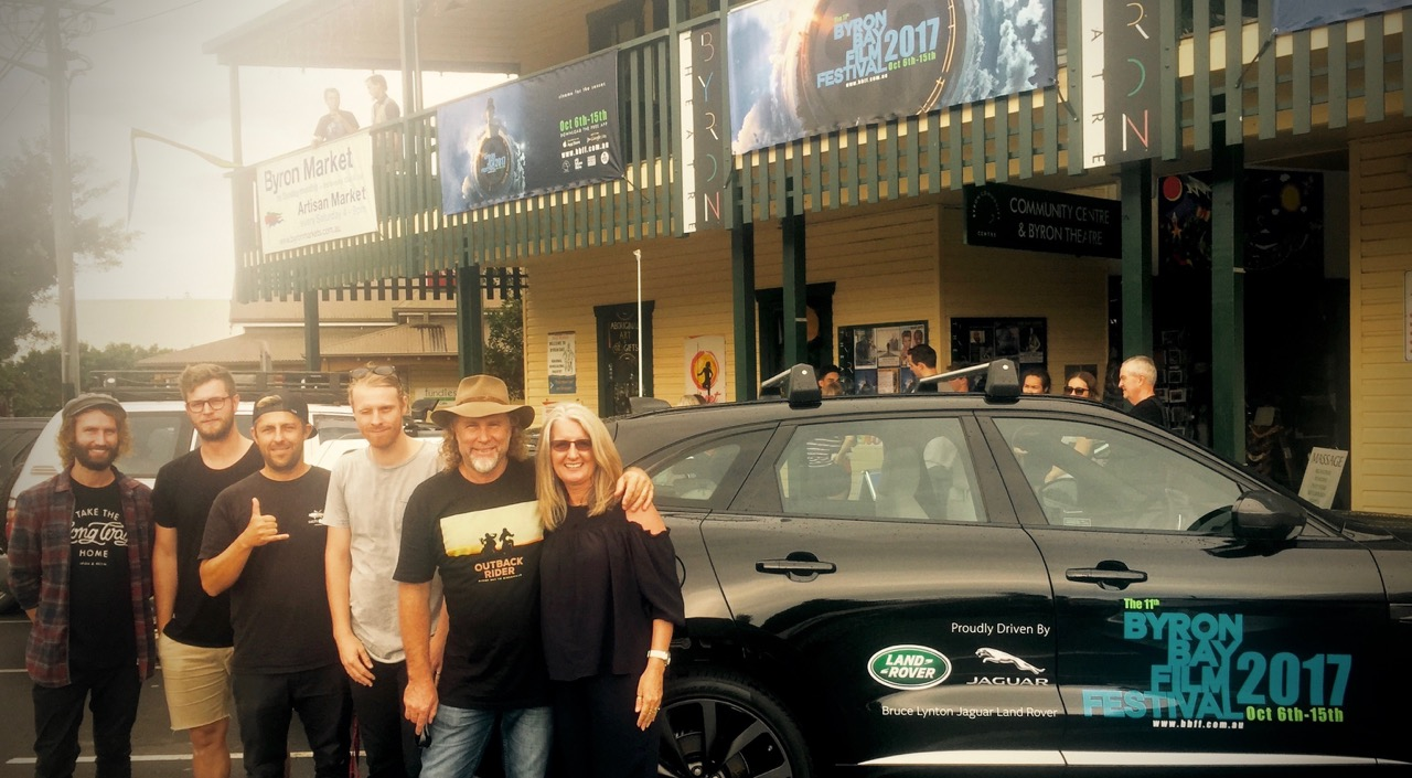 Pictured: The Outback Rider team outside the Byron Bay movie theatre for the first ever screening of the movie.