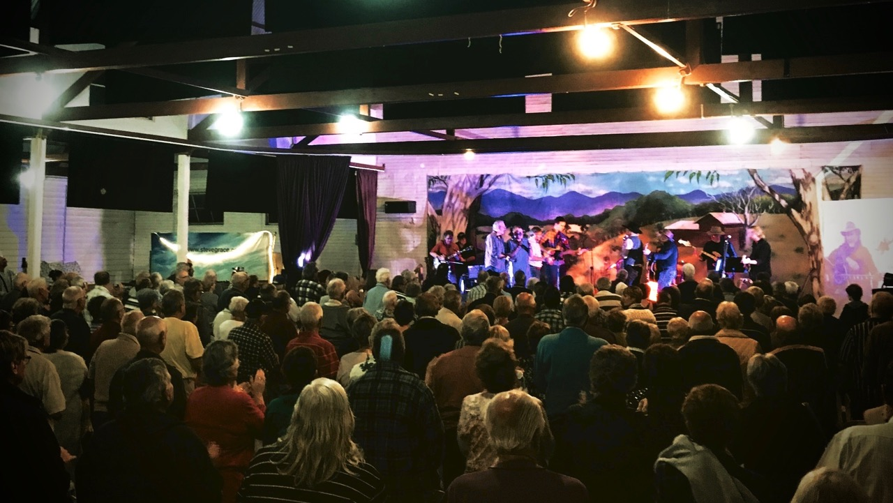 Pictured: Steve and the band performing some encore songs at the Kempsey Showgrounds Pavilion..