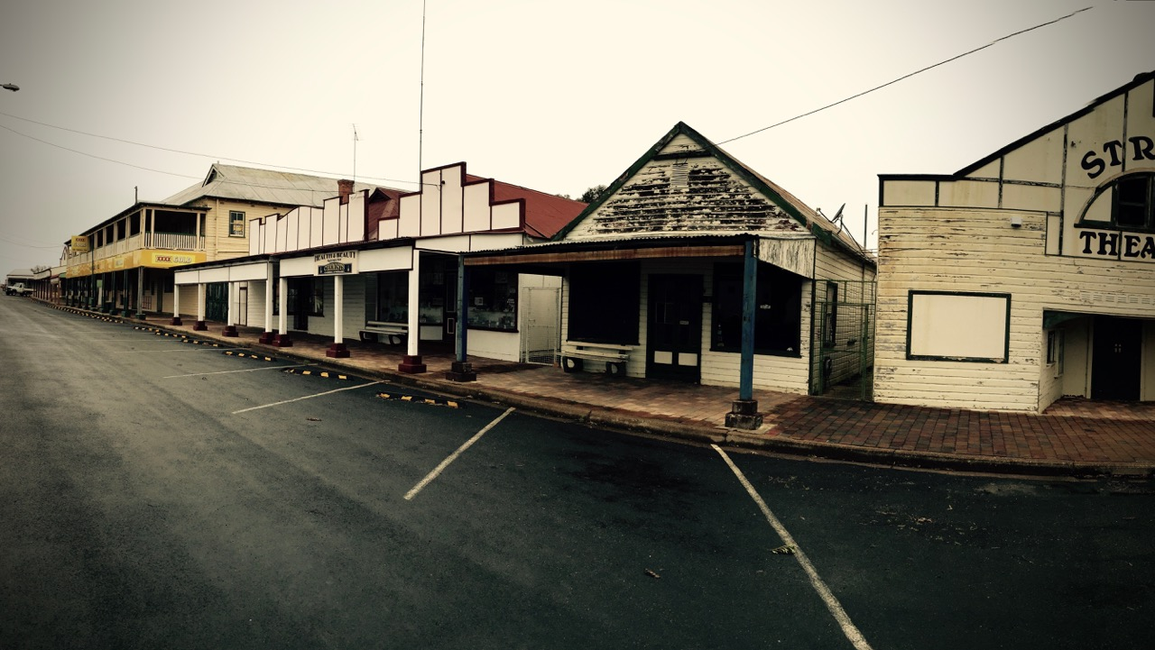 Pictured: The Main Street of the town of Ashford, NSW on a Sunday afternoon.