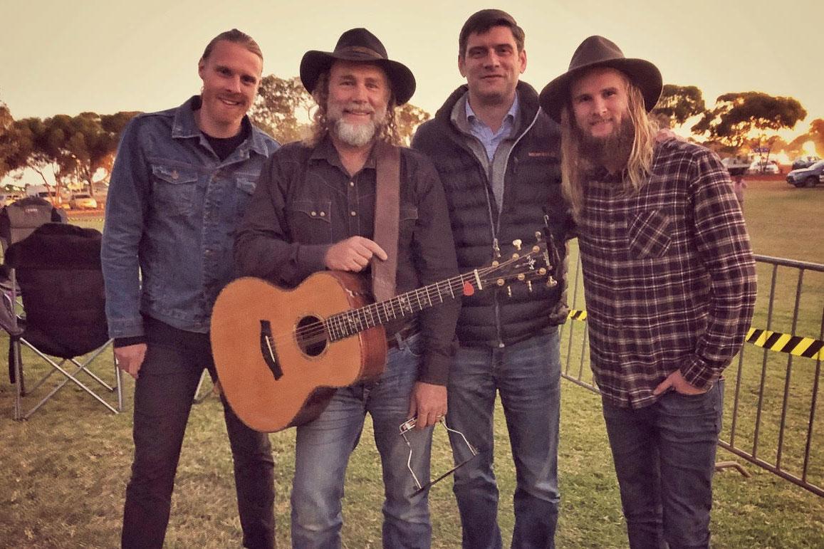 Trentan, Steve and Jordan with Will Graham at the Goldfields Celebration in Kalgoorlie.