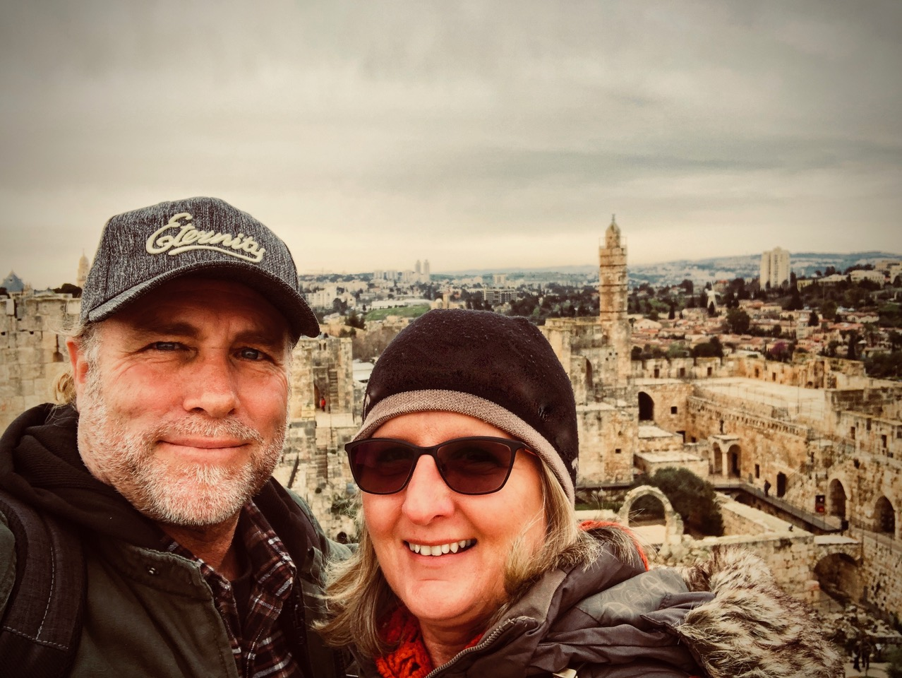 Pictured: Steve and Kerrie at King David's citadel in the Old City, Jerusalem.