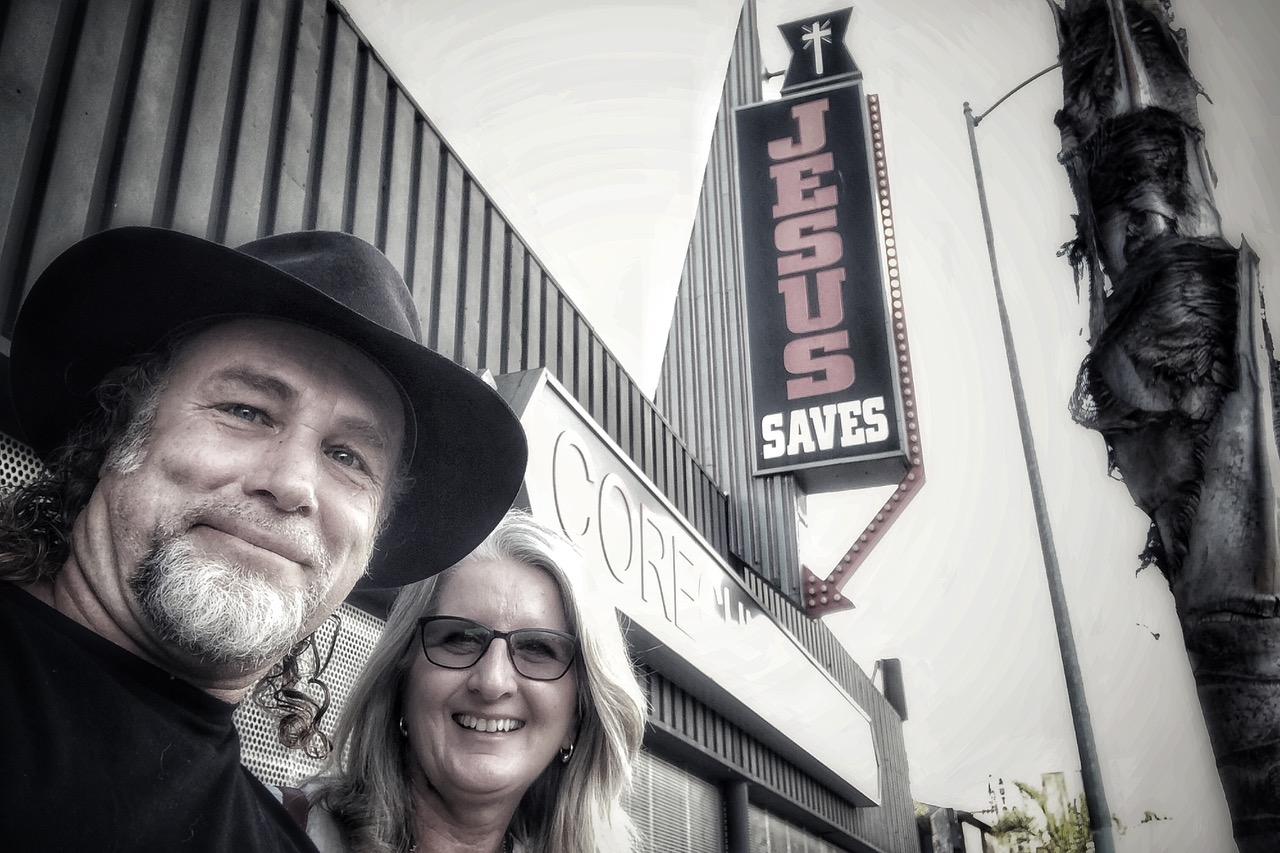Pictured: Steve and Kerrie out the front of the Iconic CORE Church in LA.