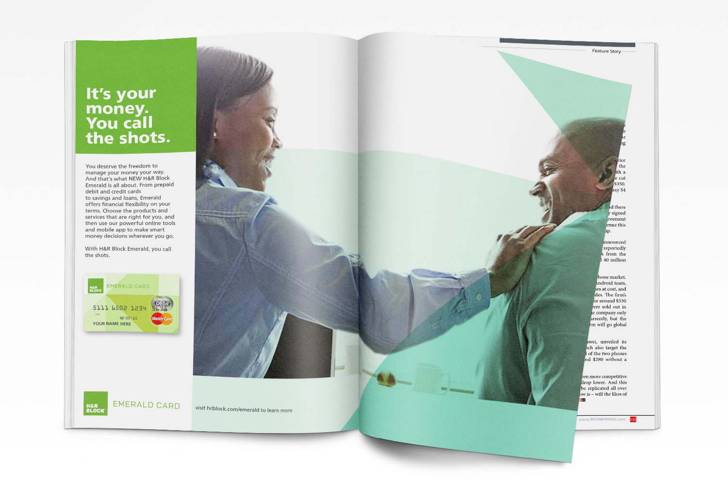 """H&R Block Emerald Advertising : """"It's your money. You call the shots."""" Combined with a clean, contemporary design, this campaign initiative was so money"""