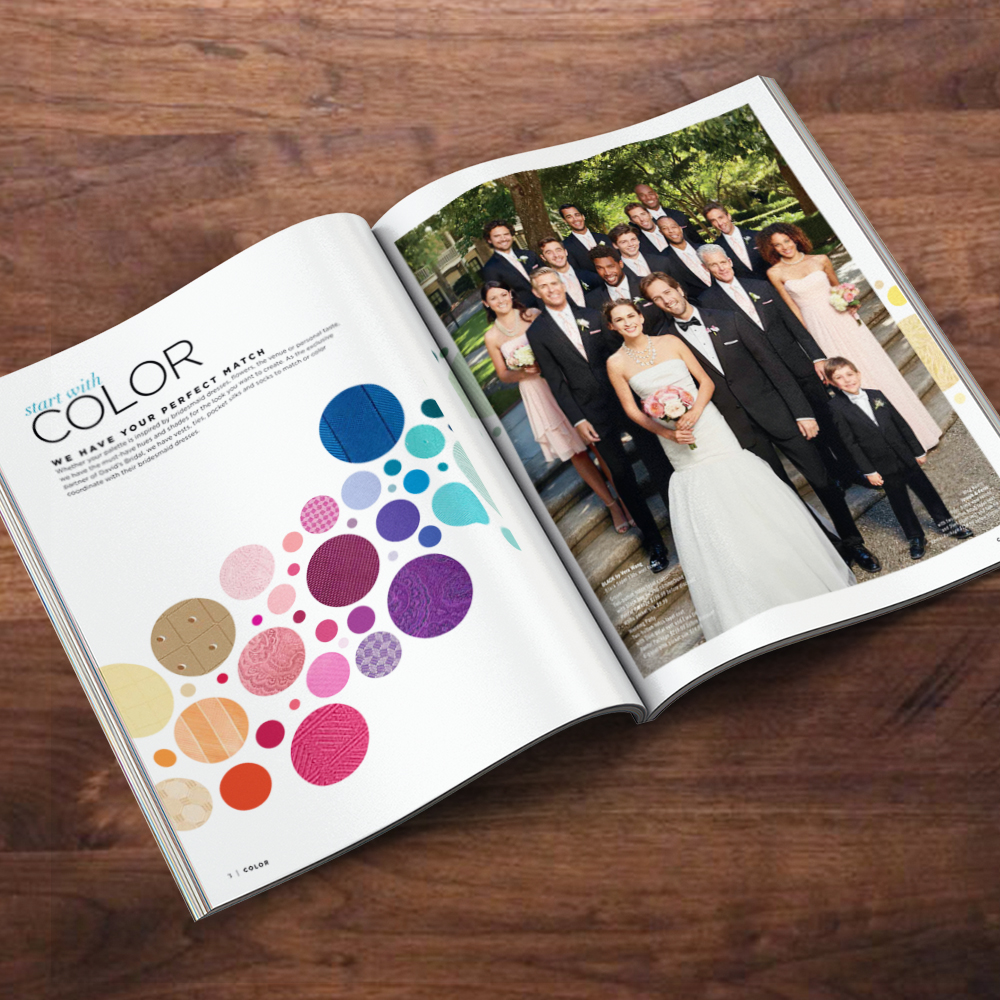 Men's Wearhouse Catalog: The perfect color is key when planning your dream wedding—which is why our in-store catalog highlighted the latest color trends and styles