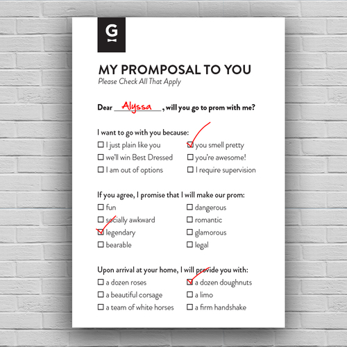 """Generation Tux Promposal Cards:  HERO made it easy to stage fun and light-hearted """"promposals"""" for this new online brand"""