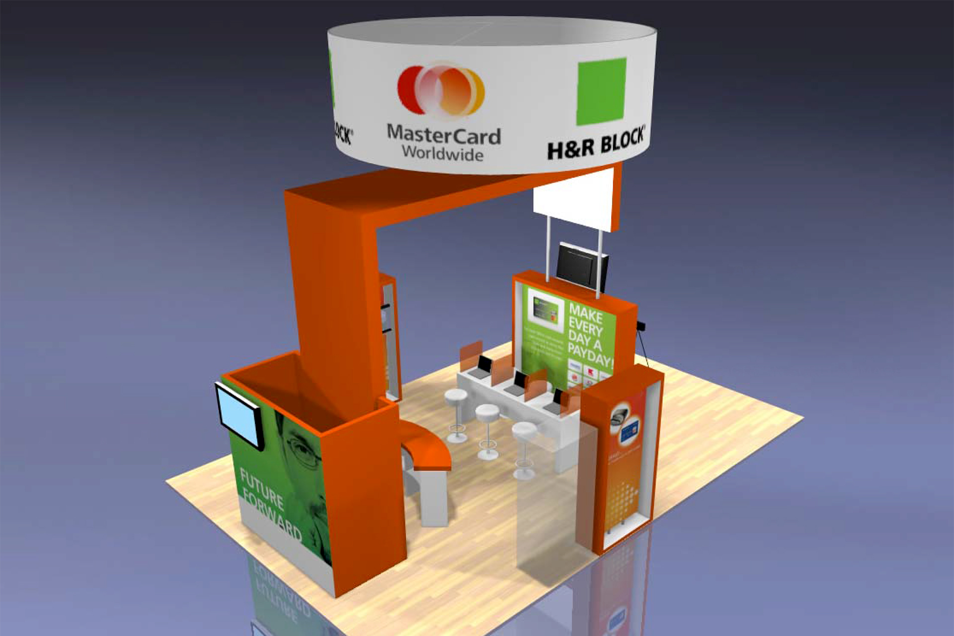 """H&R Block Trade Show Booth: Conceived for H&R Block's annual convention, our theme of """"Tomorrow's Tools for Today's Clients"""" was realized through a forward-thinking booth design, product videos, mobile app demonstrations, and more"""