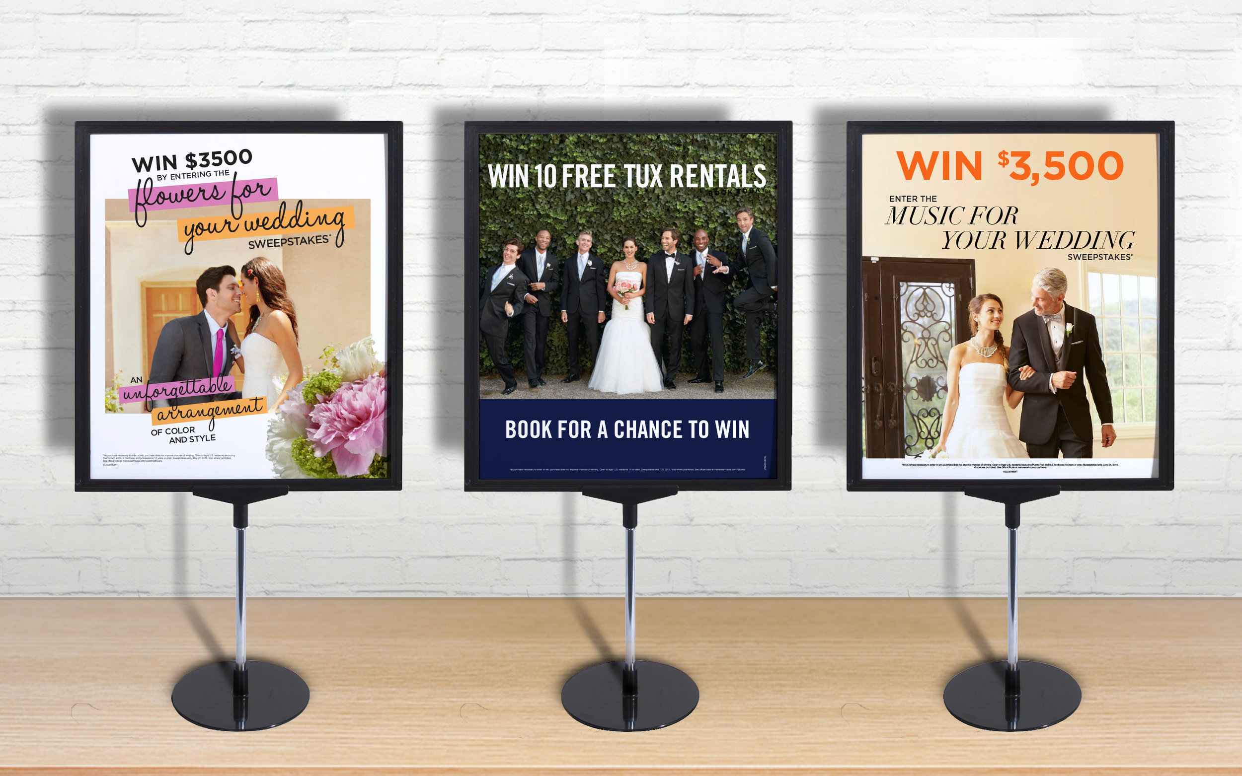 Men's Wearhouse Retail Signage: From sweepstakes to gifts with purchase, our monthly in-store promotions used unconventional approaches for a men's clothing store, by appealing to that other influencer: the groom's future spouse