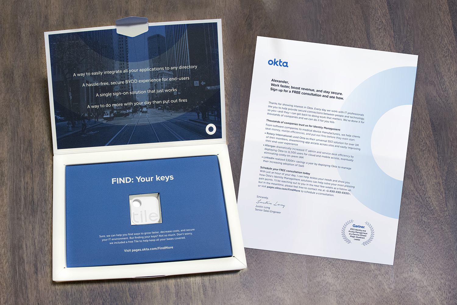 """Okta Dimensional Mailer : This award-winning direct mail package helped fuel a """"meeting-maker"""" program that the client described as one of its most successful ever"""