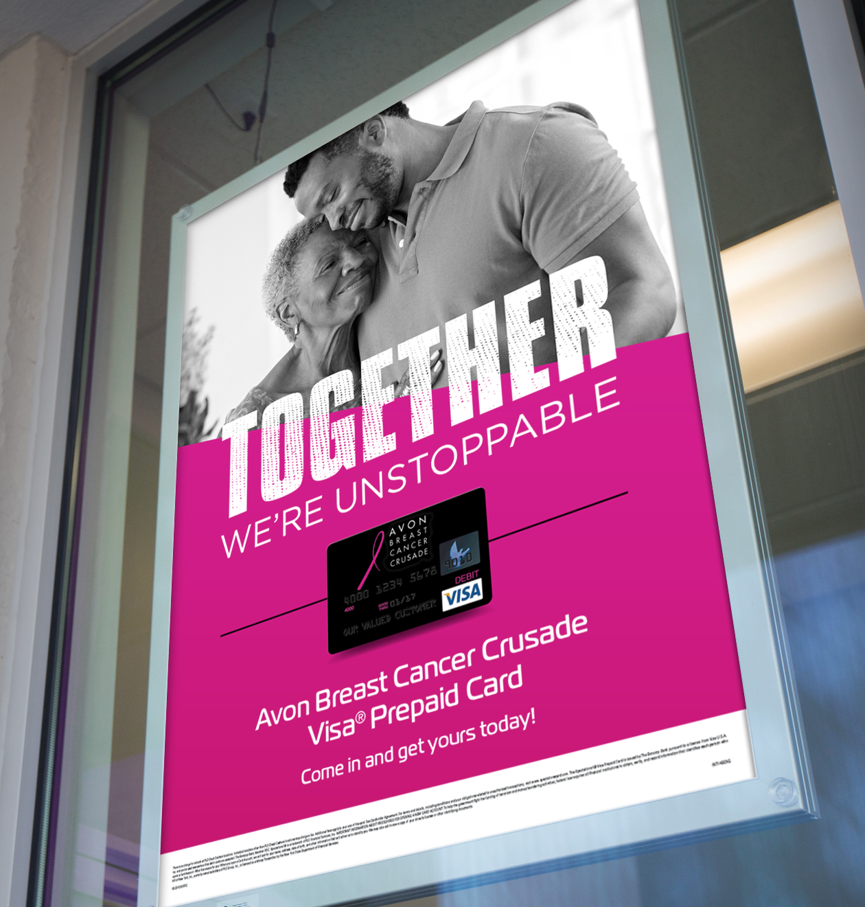 "PLS In-Store Signage:  With headlines such as, ""Together We Can Take a Swipe at Cancer,"" our promotion for the PLS Avon Prepaid Visa Card helped inspire thousands of PLS customers to join the fight to end breast cancer"