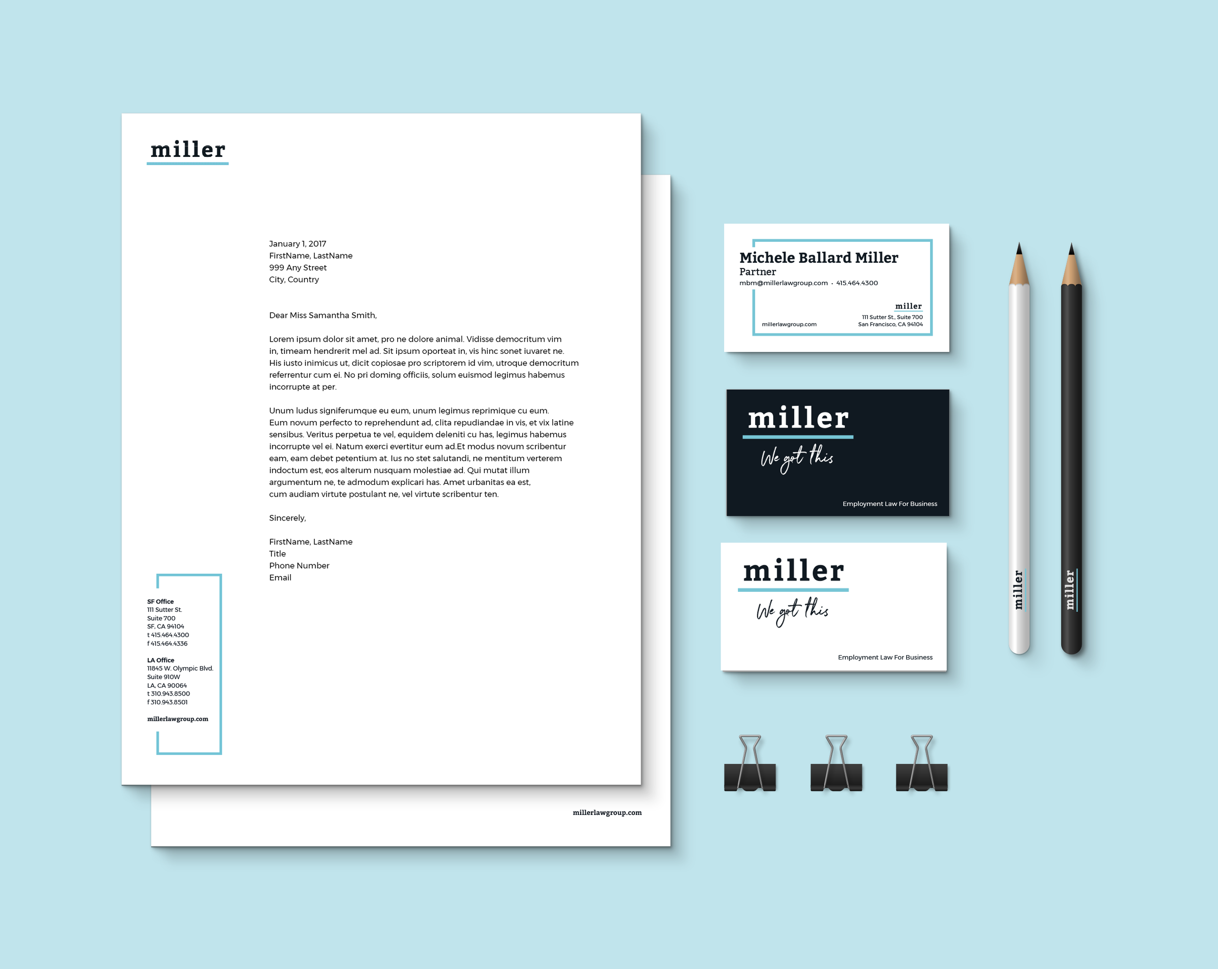 Miller Identity System:  Our business card and letterhead designs were inspired by Miller's bold, yet pragmatic, approach to employment law.