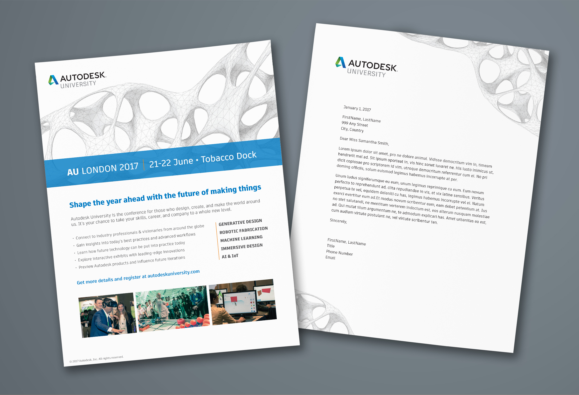 Autodesk 2017 Turnkey Sales Kit:  We helped field teams in 18 countries quickly tailor their outreach and drive attendees to local events, by providing them everything they needed—from customizable flyers and emails, to PowerPoint and letterhead templates.