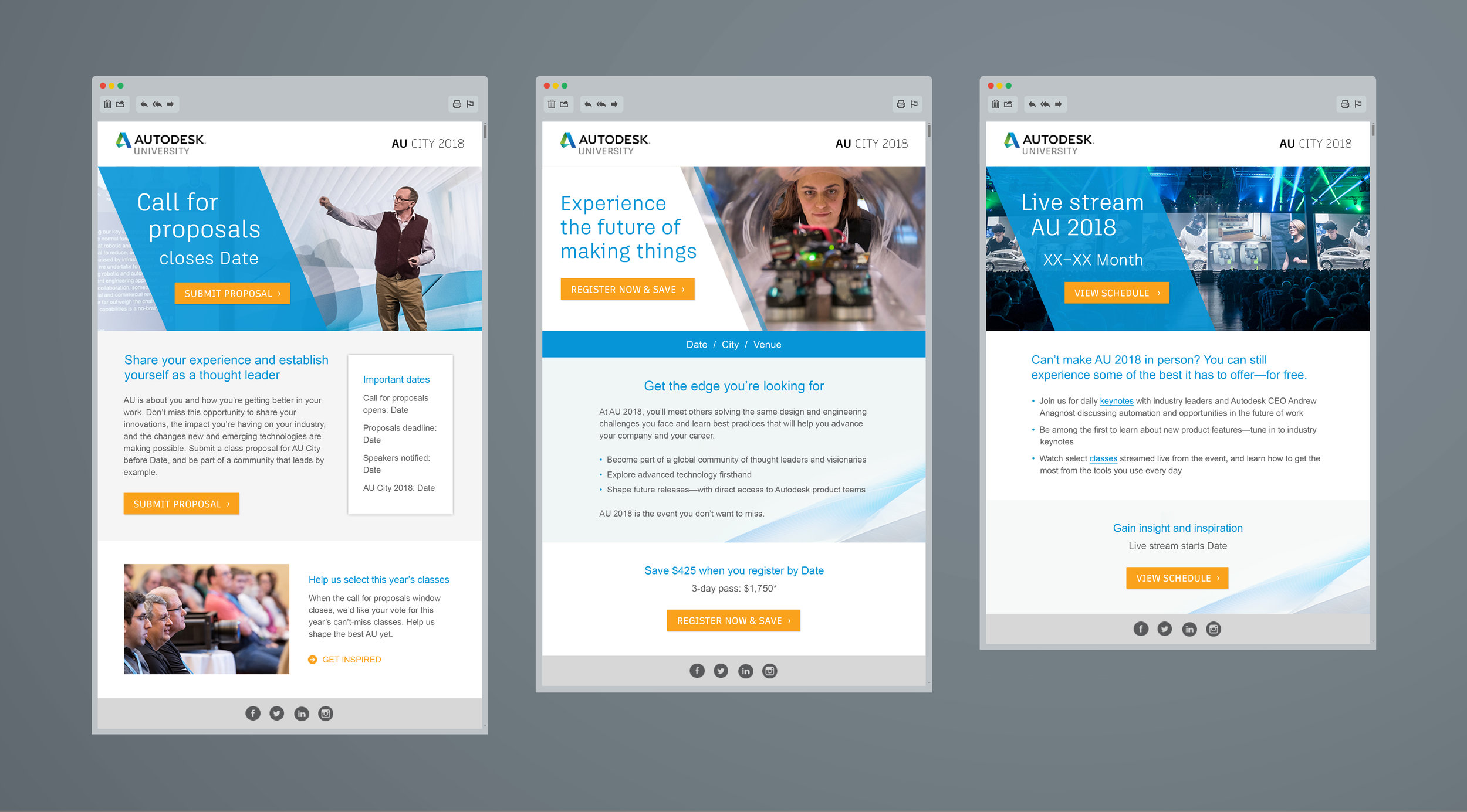 Autodesk 2018 Email Template:  From generating awareness to driving registrations, this flexible email template design supports the rapid creation and deployment of industry event emails in 18 countries.