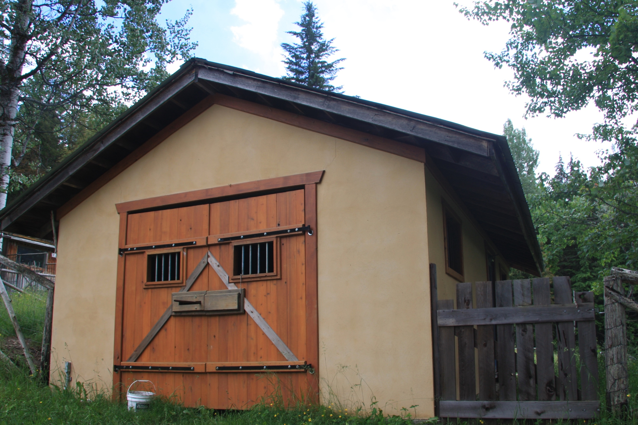 Our Sustainable goat house. We have a family of goats that provide organic dairy.