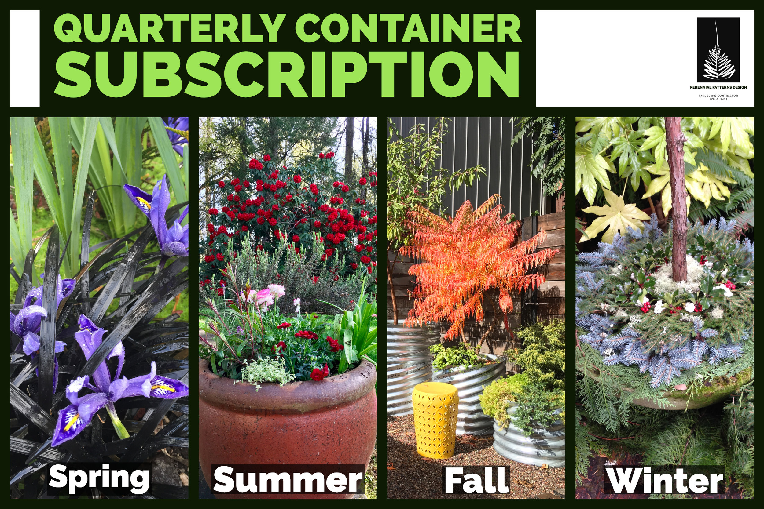 Get Fresh Plants 4x a Year with the Annual Package.  Perfect for Restaurants or Commercial Sites that want Year-Round Color and Seasonal Interest.    CLICK HERE   for more information on available options and package pricing.