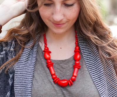fair trade coral necklace