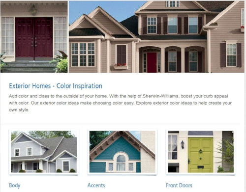- The internet has lots of inspiration…caution! only use web images as a starting point, guide and inspiration. You must view the actual colors to make your final decision! Here is a link to one of Sherwin-Williams exterior pages to get your wheels rolling.
