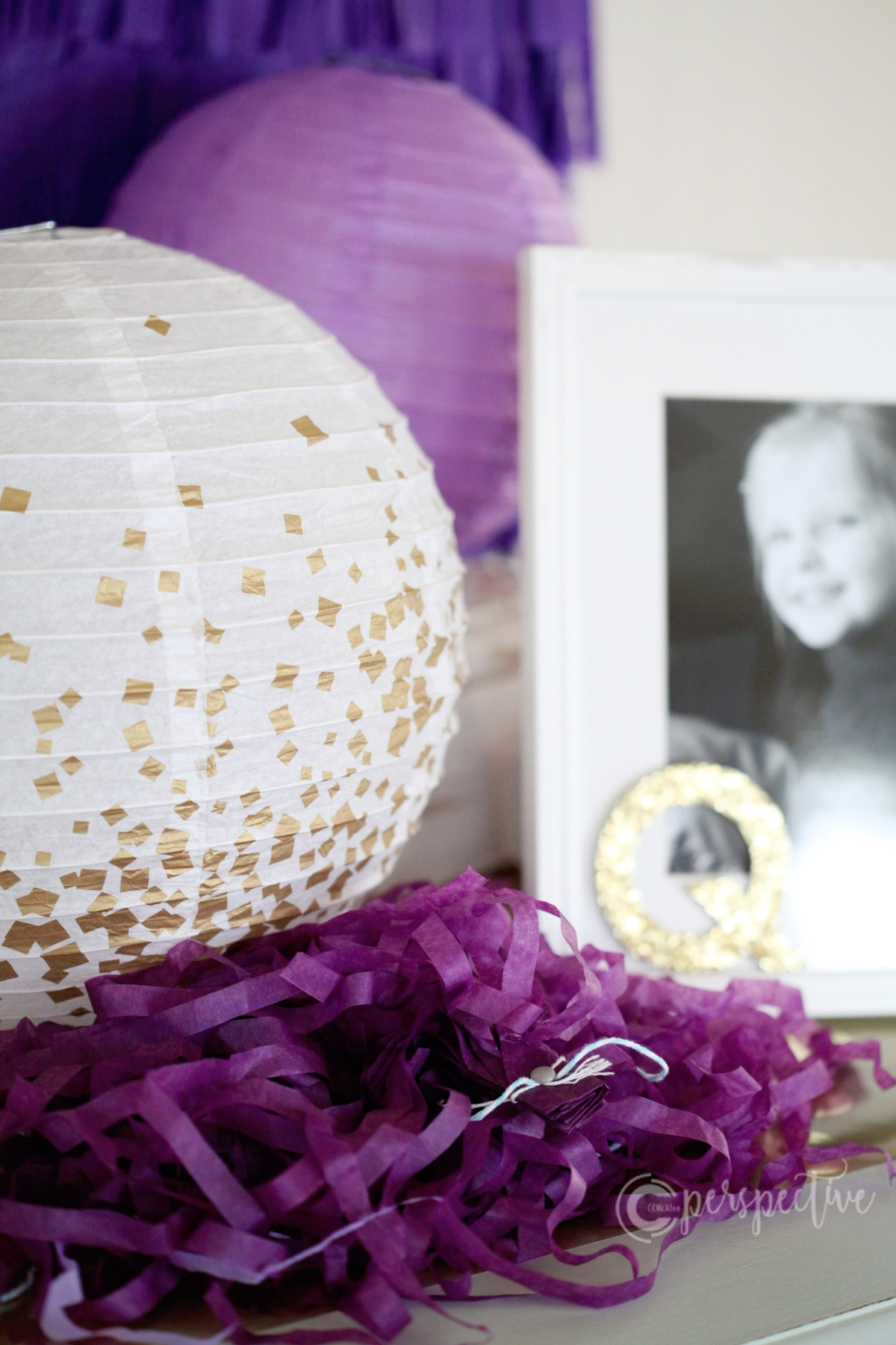 gold and purple party decor