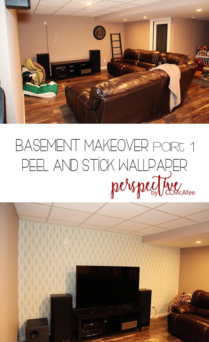 basement makeover peel and stick wallpaper