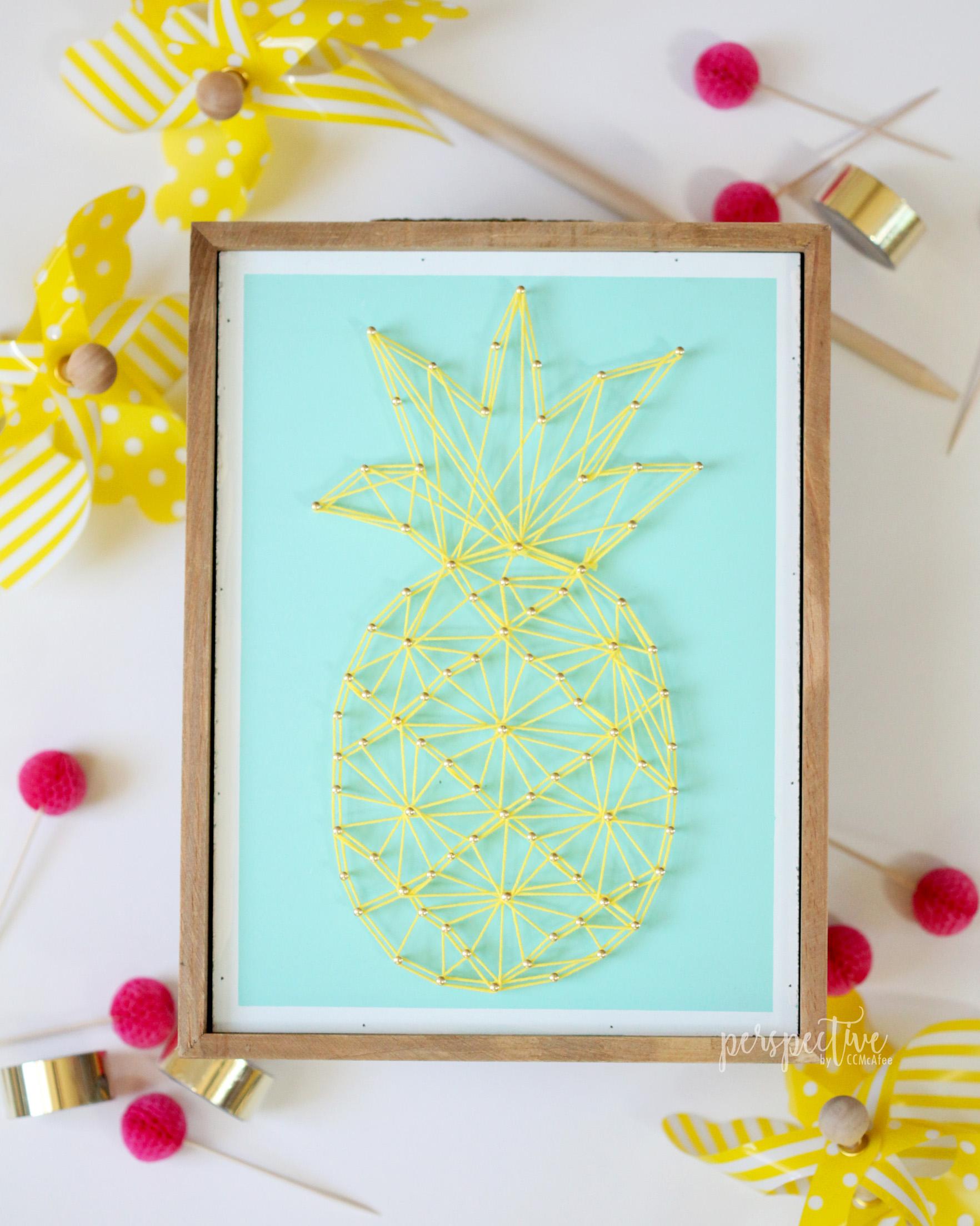 pineapple decor, pineapple string art, hobby lobby