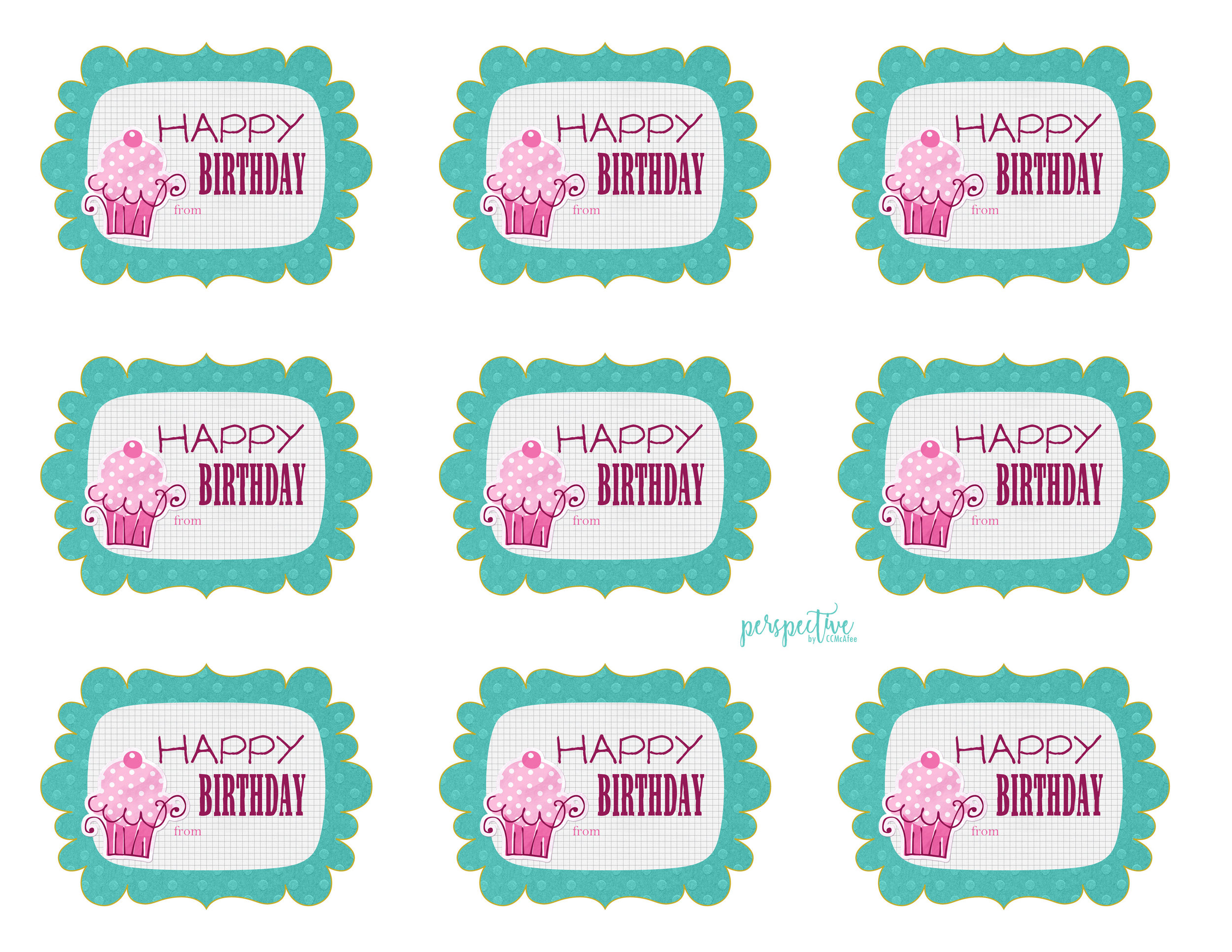 free printable birthday tags girl