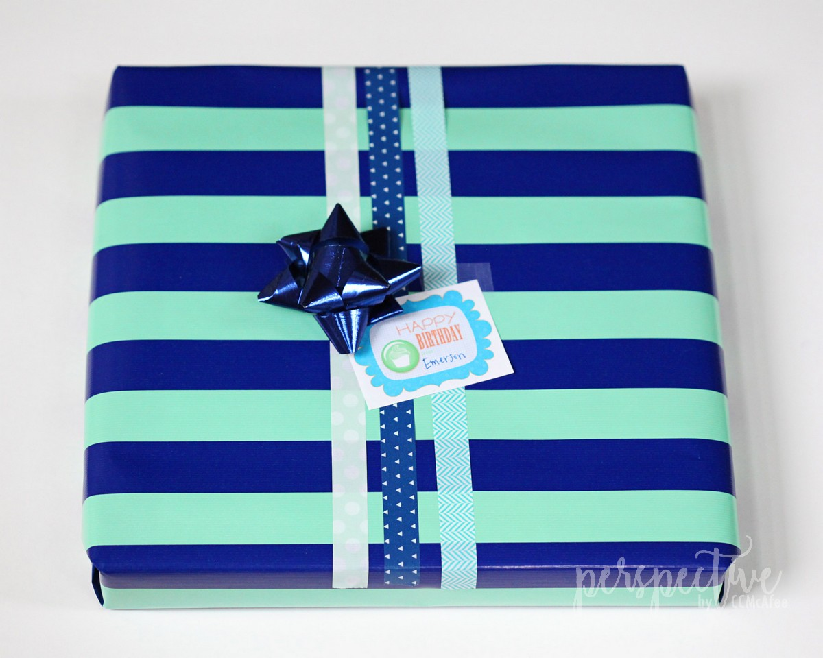 boy gift wrap, washi tape