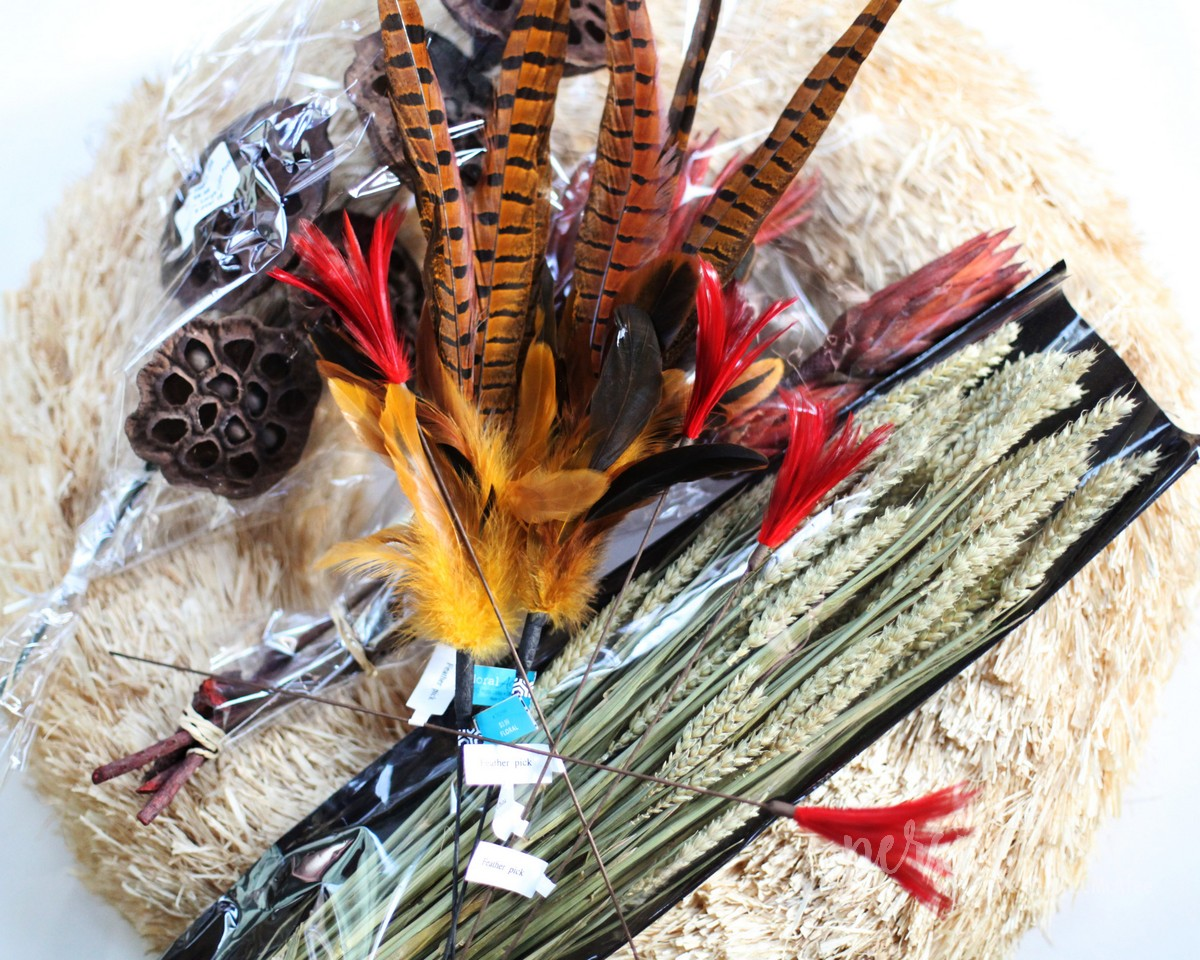 fall wreath feathers