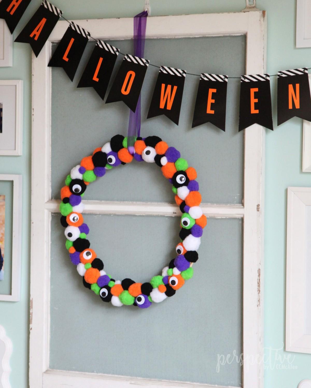 diy halloween monster wreath
