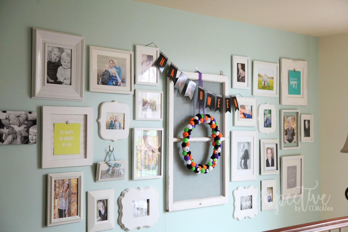 monster wreath gallery wall