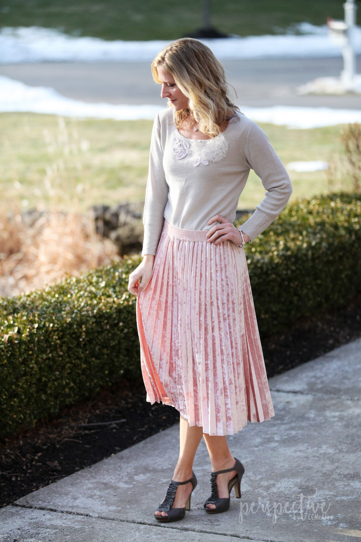 Perspective By Ccmcafee Crushed Velvet Pleated Skirt Wearing