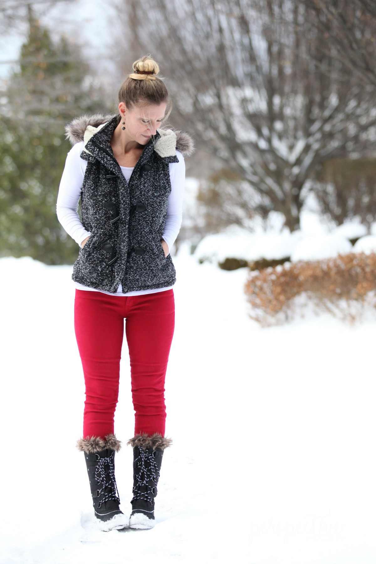 red pants hooded vest